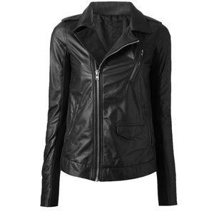 Rick Owens black Leather Motorcycle Biker Jacket